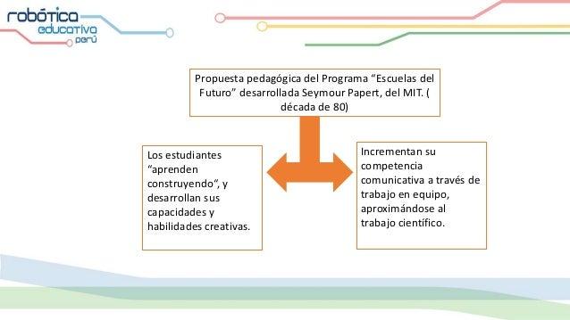 """Propuesta pedagógica del Programa """"Escuelas del Futuro"""" desarrollada Seymour Papert, del MIT. ( década de 80) Los estudian..."""
