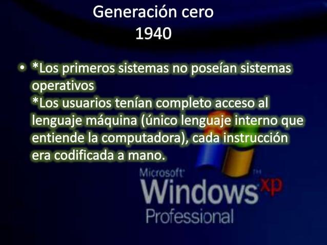 Generación cero 1940  W *Los primeros sistemas no poseían sistemas  operativos *Los usuarios tenían completo acceso al  le...
