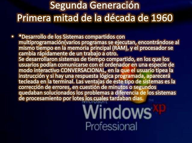 Segunda Generación Primera mitad de la década de 1960  a *DesarrolIo de los Sistemas compartidos con multiprogramación(var...