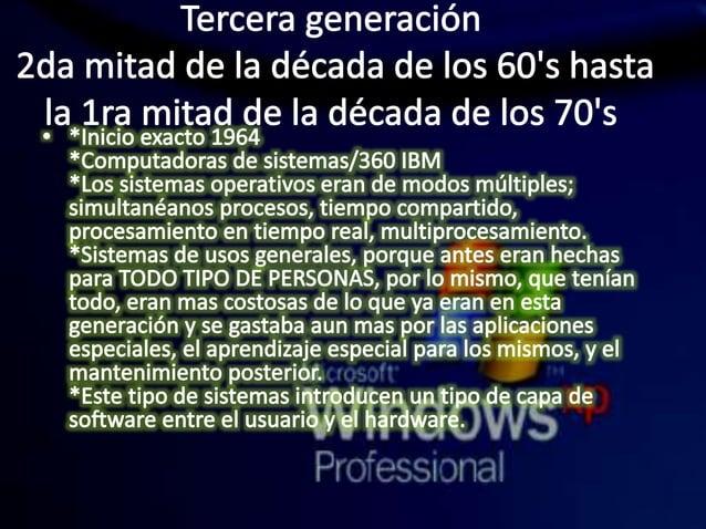 Tercera generación 2da mitad de la década de los 60's hasta la 1ra mitad de la década de los 70's  ° *In¡c¡o exacto 1964  ...