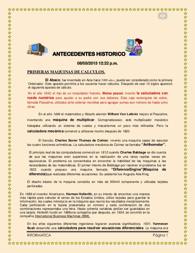 1                      ANTECEDENTES HISTORICO                                       08/03/2013 12:22 p.m.    PRIMERAS MAQU...