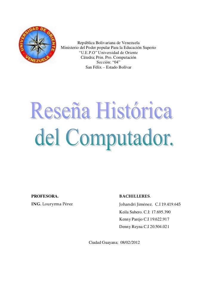 República Bolivariana de Venezuela             Ministerio del Poder popular Para la Educación Superio                     ...