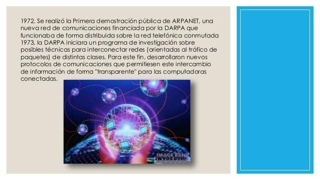 1972. Se realizó la Primera demostración pública de ARPANET, una nueva red de comunicaciones financiada por la DARPA que f...