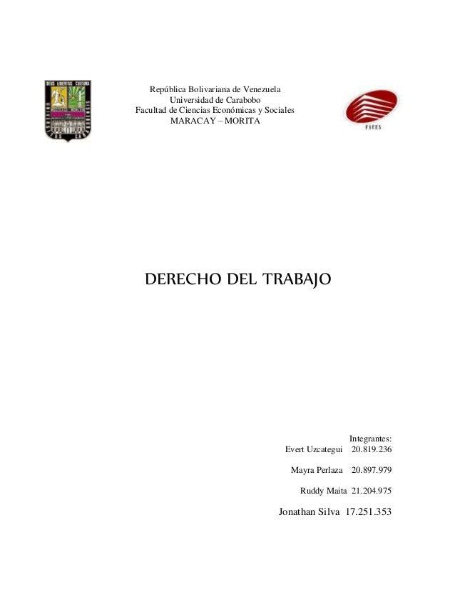 República Bolivariana de Venezuela Universidad de Carabobo Facultad de Ciencias Económicas y Sociales MARACAY – MORITA DER...