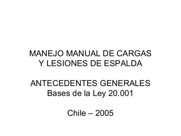 MANEJO MANUAL DE CARGAS Y LESIONES DE ESPALDAANTECEDENTES GENERALES   Bases de la Ley 20.001       Chile – 2005