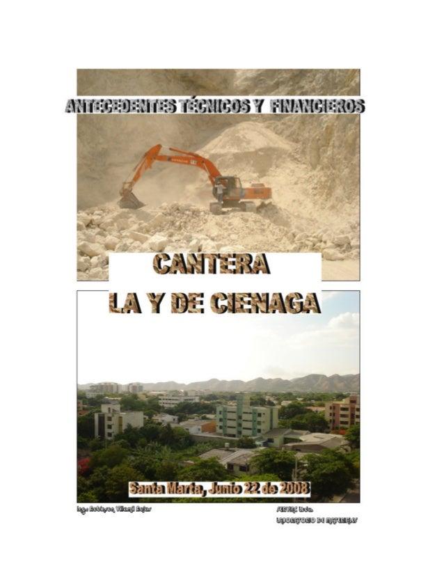CANTERA LA Y DE CIENAGA ANTECEDENTES TÉCNICOS Y FINANCIEROS SERVINC LTDA. 2 TABLA DE CONTENIDO TABLA DE CONTENIDO ...........