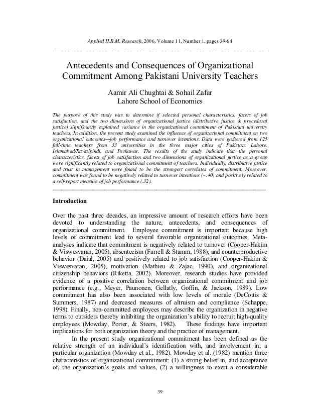 organizational commitment On jan 1, 2014, aaron cohen published the chapter: organizational commitment  theory in a book.