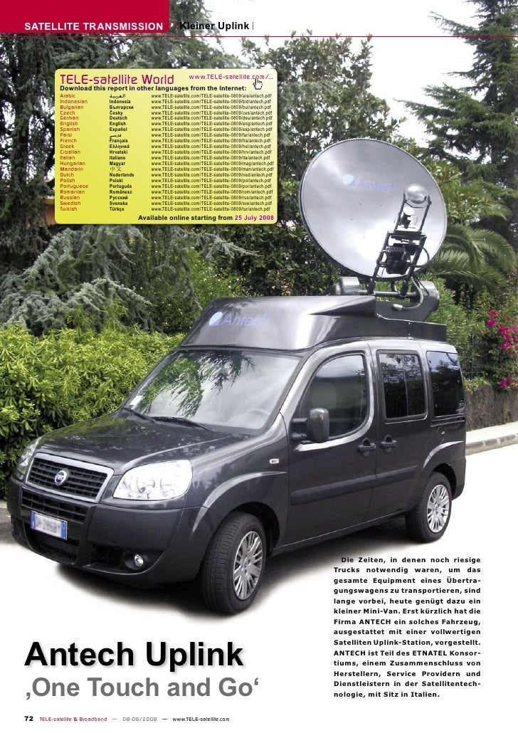 SATELLITE TRANSMISSION                                   Kleiner Uplink                TELE-satelliteother languageswww.TE...
