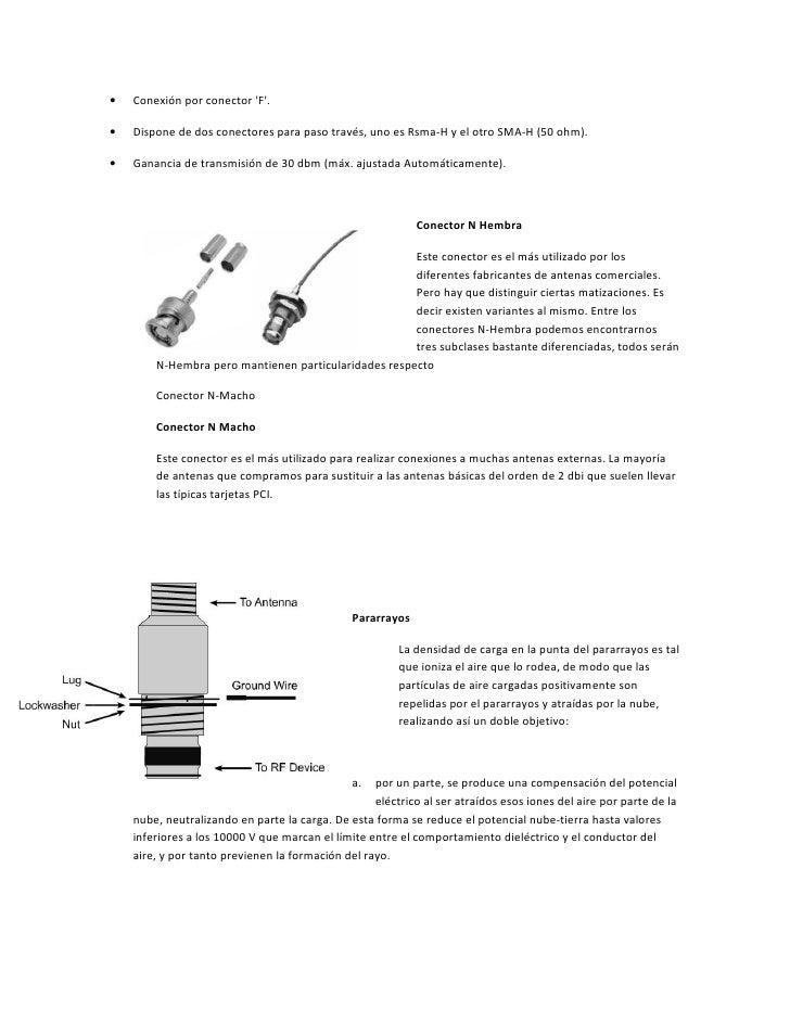 •   Conexión por conector F.•   Dispone de dos conectores para paso través, uno es Rsma-H y el otro SMA-H (50 ohm).•   Gan...