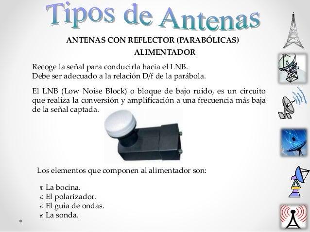ANTENAS CON REFLECTOR (PARABÓLICAS) Recoge la señal para conducirla hacia el LNB. Debe ser adecuado a la relación D/f de l...