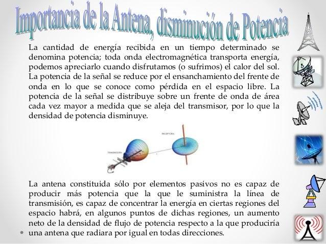 La cantidad de energía recibida en un tiempo determinado se denomina potencia; toda onda electromagnética transporta energ...
