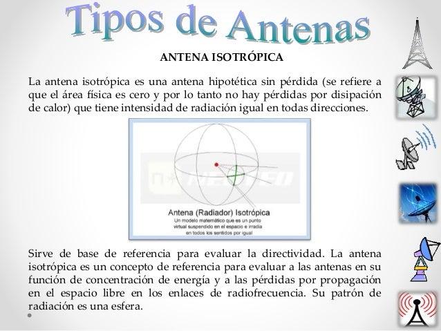 ANTENA ISOTRÓPICA La antena isotrópica es una antena hipotética sin pérdida (se refiere a que el área física es cero y por...