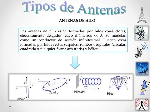 ANTENAS DE HILO Las antenas de hilo están formadas por hilos conductores, eléctricamente delgados, cuyo diámetros << λ. Se...