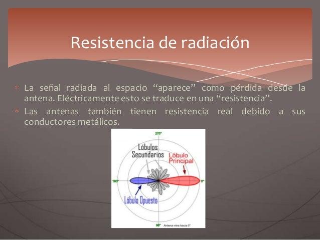 """La señal radiada al espacio """"aparece"""" como pérdida desde la antena. Eléctricamente esto se traduce en una """"resistencia"""". L..."""