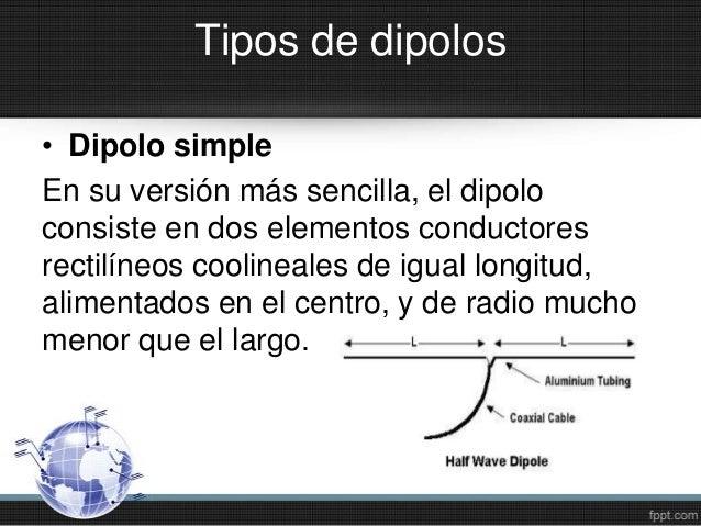 Tipos de dipolos• Dipolo simpleEn su versión más sencilla, el dipoloconsiste en dos elementos conductoresrectilíneos cooli...