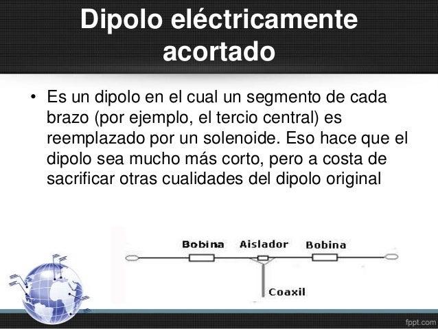Dipolo eléctricamenteacortado• Es un dipolo en el cual un segmento de cadabrazo (por ejemplo, el tercio central) esreempla...