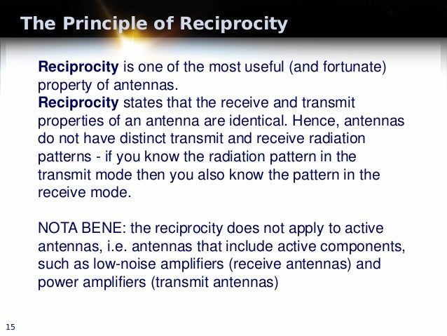 The Principle of Reciprocity 15 Reciprocity is one of the most useful (and fortunate) property of antennas. Reciprocity st...