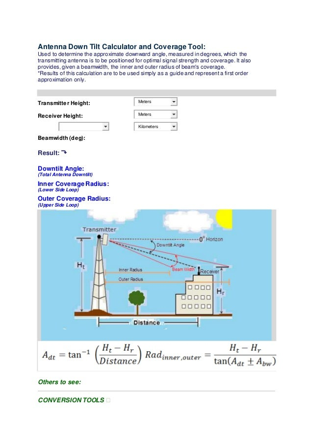 Antenna down tilt calculator and coverage tool