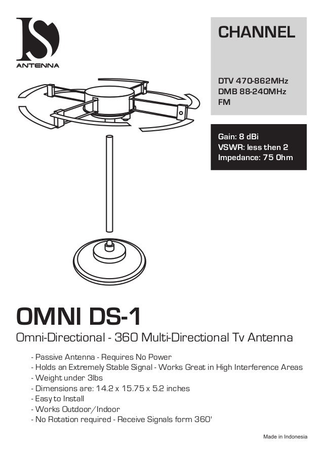 OMNI DS-1 Omni-Directional - 360 Multi-Directional Tv Antenna - Passive Antenna - Requires No Power - Holds an Extremely S...