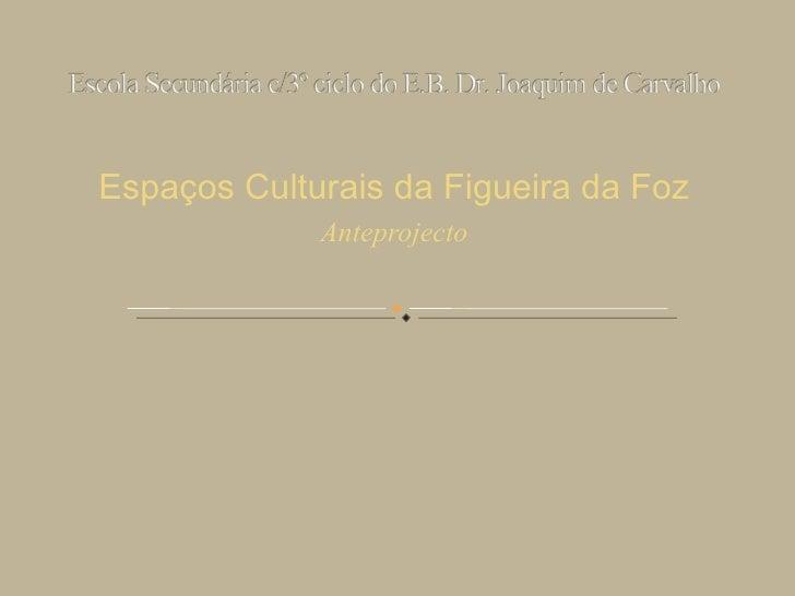 Espaços Culturais da Figueira da Foz Anteprojecto