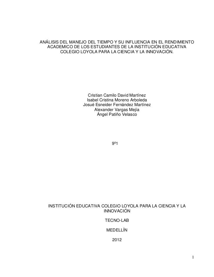 ANÁLISIS DEL MANEJO DEL TIEMPO Y SU INFLUENCIA EN EL RENDIMIENTO   ACADEMICO DE LOS ESTUDIANTES DE LA INSTITUCIÓN EDUCATIV...
