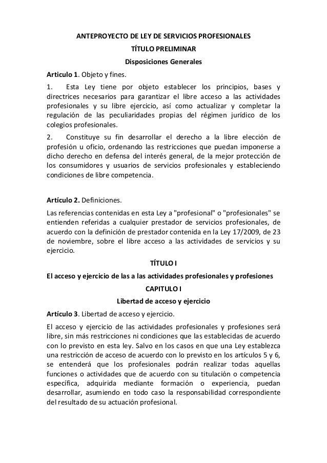 ANTEPROYECTODELEYDESERVICIOSPROFESIONALES                                TÍTULOPRELIMINAR                         ...