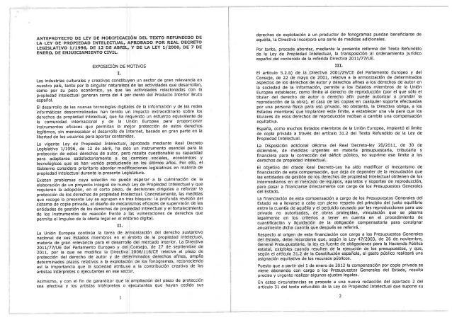 Anteproyecto Reforma Ley Propiedad Intelectual filtrado por Ibercrea (15 mar 2013)