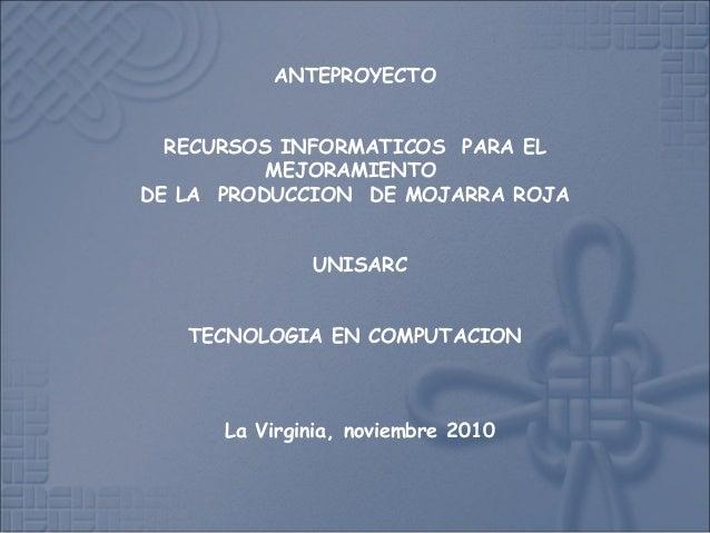 ANTEPROYECTO RECURSOS INFORMATICOS PARA EL MEJORAMIENTO DE LA PRODUCCION DE MOJARRA ROJA UNISARC TECNOLOGIA EN COMPUTACIO...