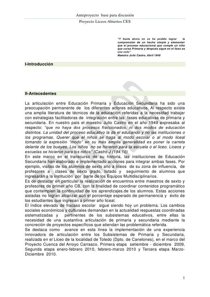 Anteproyecto base para discusión                            Proyecto Liceos Abiertos CES                                  ...