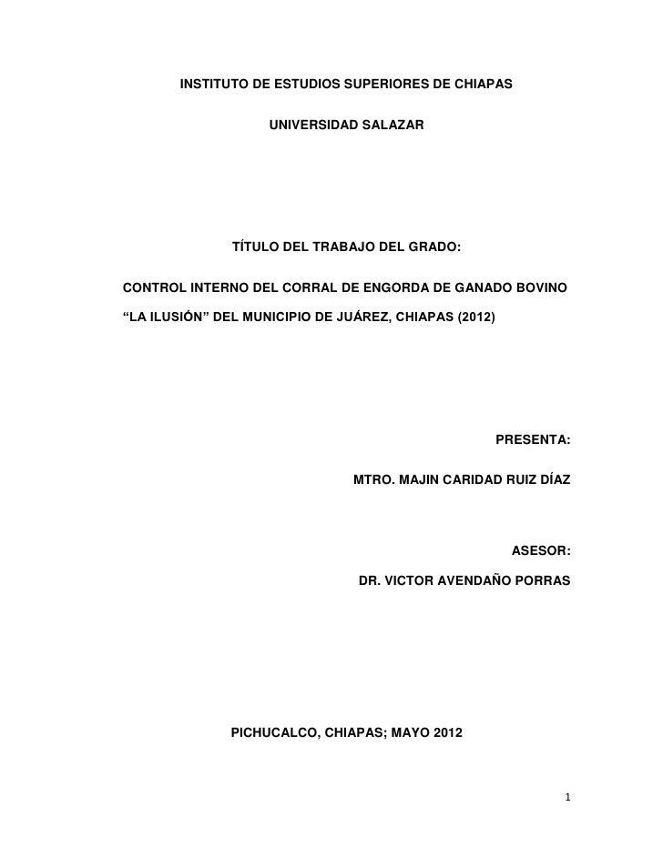 INSTITUTO DE ESTUDIOS SUPERIORES DE CHIAPAS                    UNIVERSIDAD SALAZAR               TÍTULO DEL TRABAJO DEL GR...