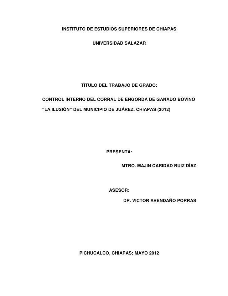 INSTITUTO DE ESTUDIOS SUPERIORES DE CHIAPAS                    UNIVERSIDAD SALAZAR               TÍTULO DEL TRABAJO DE GRA...