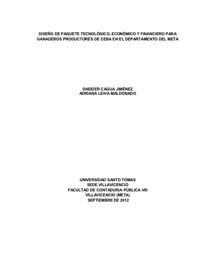 DISEÑO DE PAQUETE TECNOLÓGICO, ECONÓMICO Y FINANCIERO PARAGANADEROS PRODUCTORES DE CEBA EN EL DEPARTAMENTO DEL META       ...