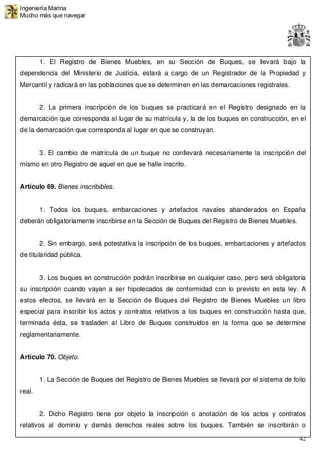Anteproyecto de ley navegaci n mar tima 192 p g - Registro mercantil de bienes muebles ...