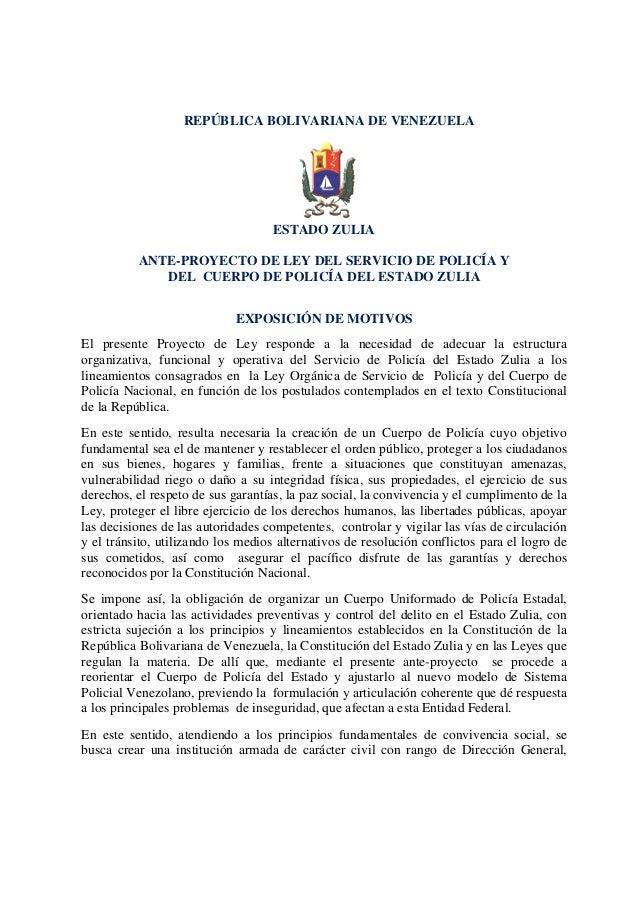 REPÚBLICA BOLIVARIANA DE VENEZUELA                                   ESTADO ZULIA          ANTE-PROYECTO DE LEY DEL SERVIC...