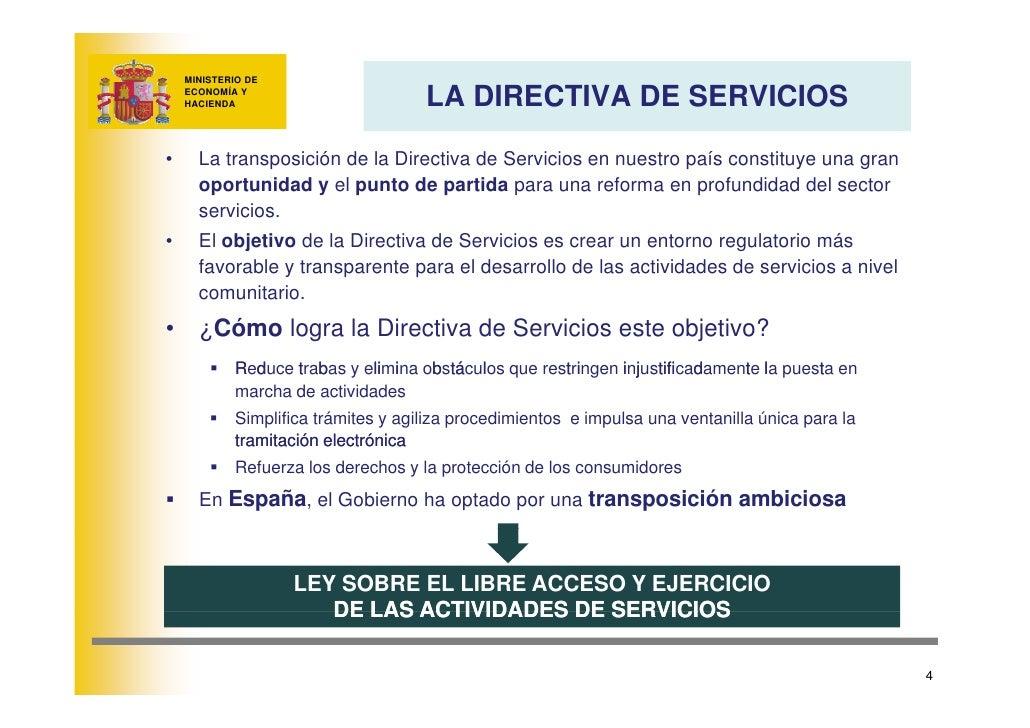 MINISTERIO DE                                        LA DIRECTIVA DE SERVICIOS     ECONOMÍA Y     HACIENDA     •     La tr...