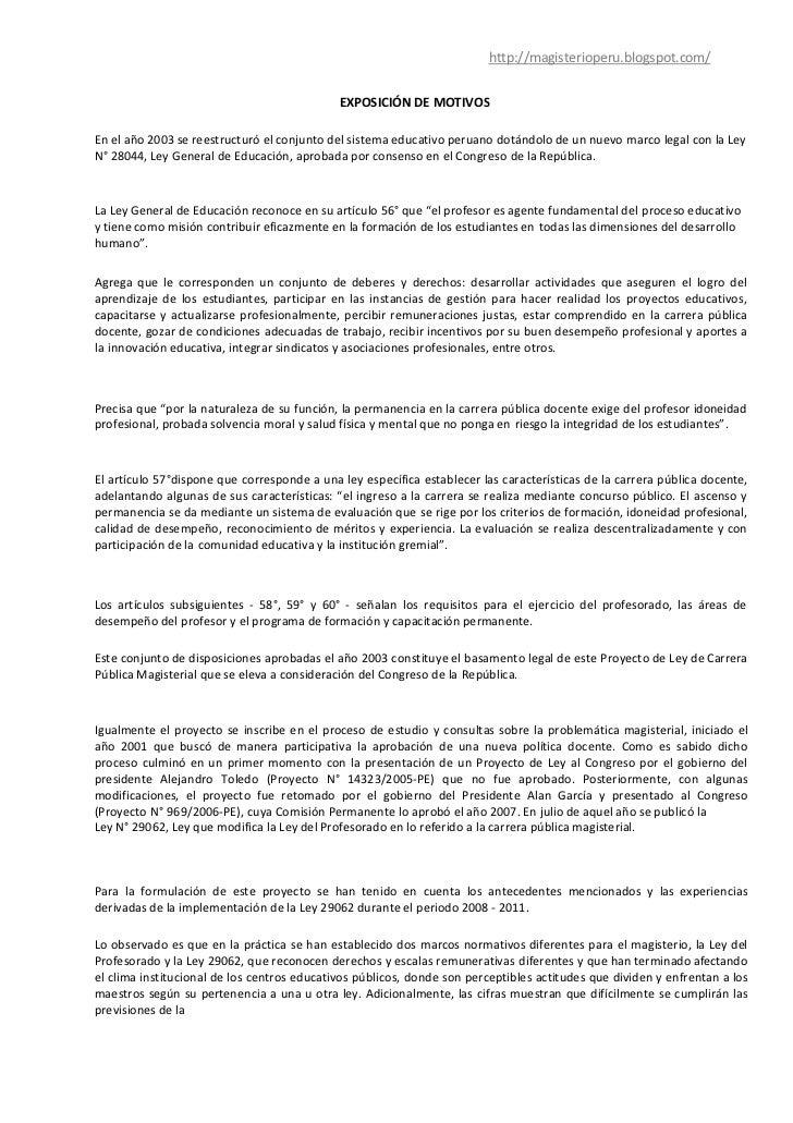 http://magisterioperu.blogspot.com/                                             EXPOSICIÓN DE MOTIVOSEn el año 2003 se ree...