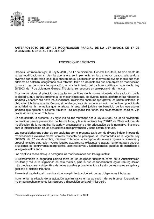 MINISTERIO DE HACIENDA Y ADMINISTRACIONES PÚBLICAS SECRETARÍA DE ESTADO DE HACIENDA DIRECCIÓN GENERAL DE TRIBUTOS ANTEPROY...