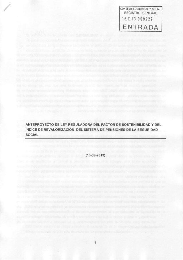 EcoNonrcoYsoctAL REGISTROGENERAL 16.m13 00022? ENTRADA ANTEPROYECTODELEYREGULADORADELFACTORDESOSTENIBILIDADY DEL iruorceoe...