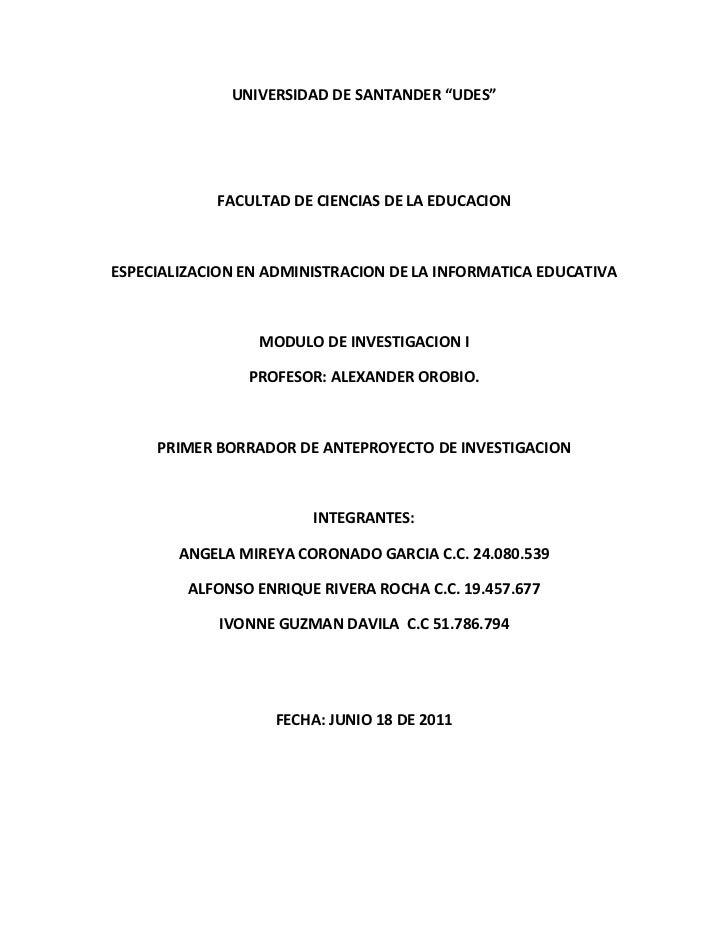 """UNIVERSIDAD DE SANTANDER """"UDES""""            FACULTAD DE CIENCIAS DE LA EDUCACIONESPECIALIZACION EN ADMINISTRACION DE LA INF..."""