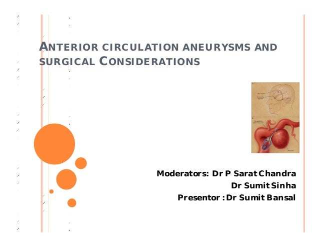 ANTERIOR CIRCULATION ANEURYSMS AND SURGICAL CONSIDERATIONS Moderators: Dr P Sarat Chandra Dr Sumit Sinha Presentor : Dr Su...