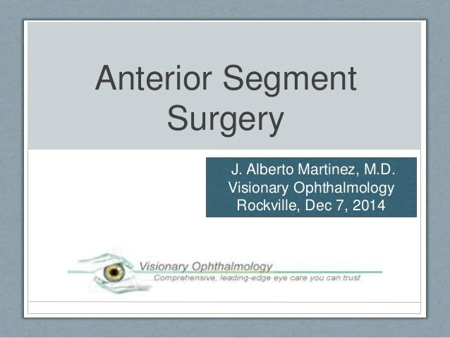 Anterior Segment  Surgery  J. Alberto Martinez, M.D.  Visionary Ophthalmology  Rockville, Dec 7, 2014