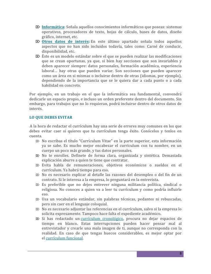Datos Para Poner En El Curriculum Vitae