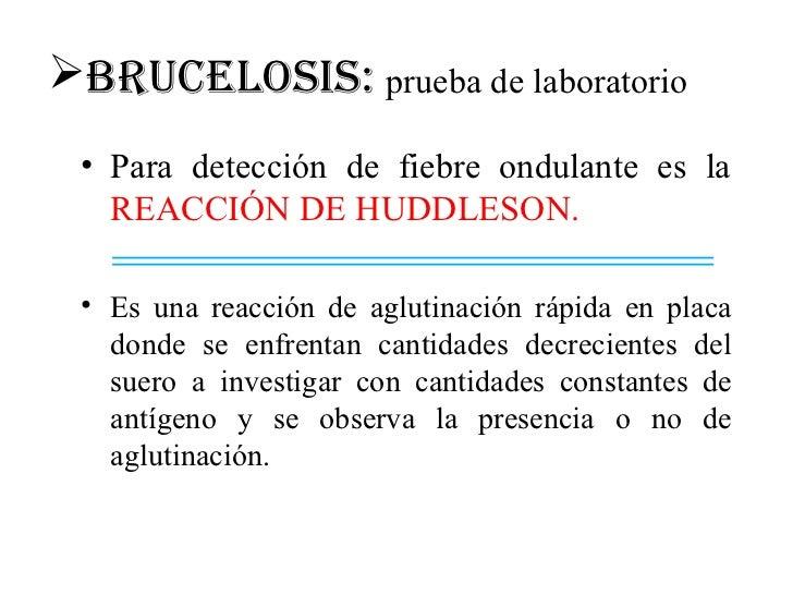 BRUCELOSIS: prueba de laboratorio • Para detección de fiebre ondulante es la   REACCIÓN DE HUDDLESON. • Es una reacción d...