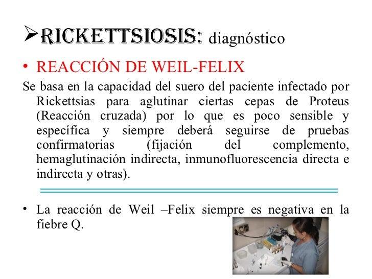 RICkETTSIOSIS: diagnóstico• REACCIÓN DE WEIL-FELIXSe basa en la capacidad del suero del paciente infectado por  Rickettsi...