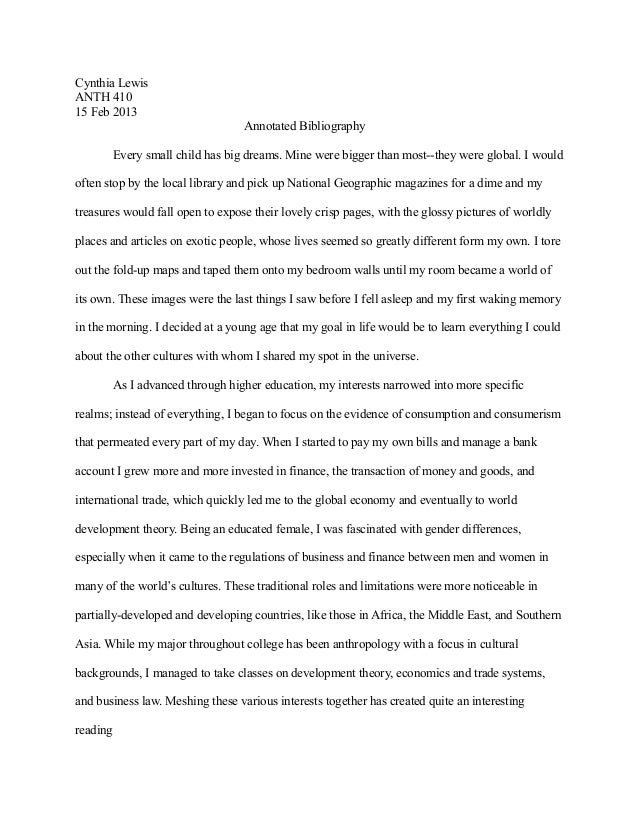 Cynthia LewisANTH 41015 Feb 2013                                   Annotated Bibliography          Every small child has b...