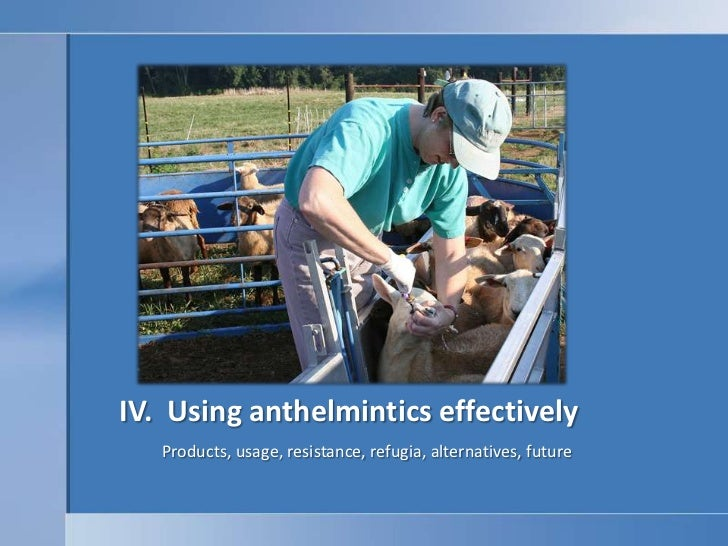 IV.  Using anthelmintics effectively<br />Products, usage, resistance, refugia, alternatives, future <br />