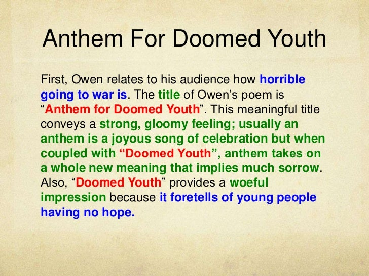 Anthem For Doomed Youth Essays  Anthem For A Doomed Youth By  Anthem For Doomed Youth Essay Sample Independence Day Essay In English also Health Care Reform Essay  Essays About Science