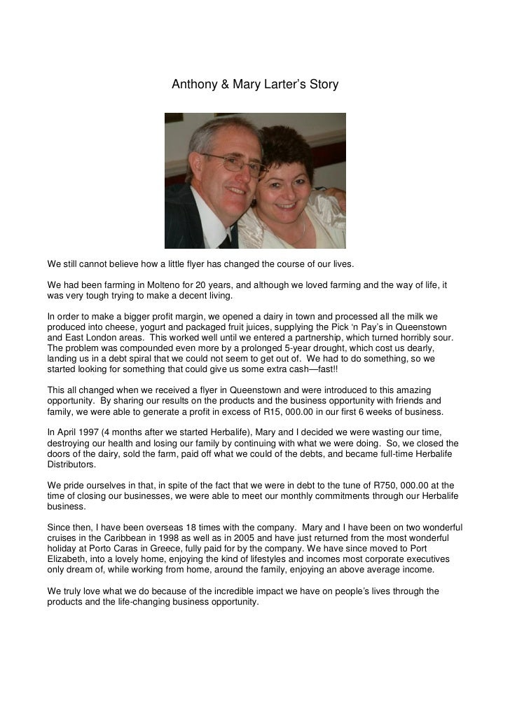 Anthony & Mary Larter's Story     We still cannot believe how a little flyer has changed the course of our lives.  We had ...