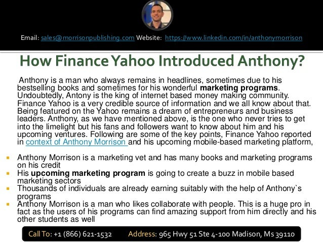 Anthony is a man who always remains in headlines, sometimes due to his bestselling books and sometimes for his wonderful m...