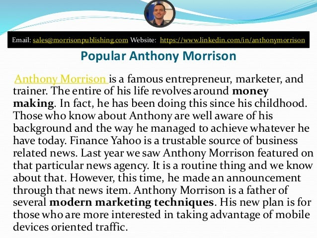 Anthony Morrison is Popular Enough & amp; Finance Yahoo Slide 2